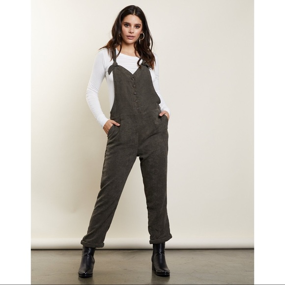 91bfbfca11e Olive Green Corduroy Overall Jumpsuit